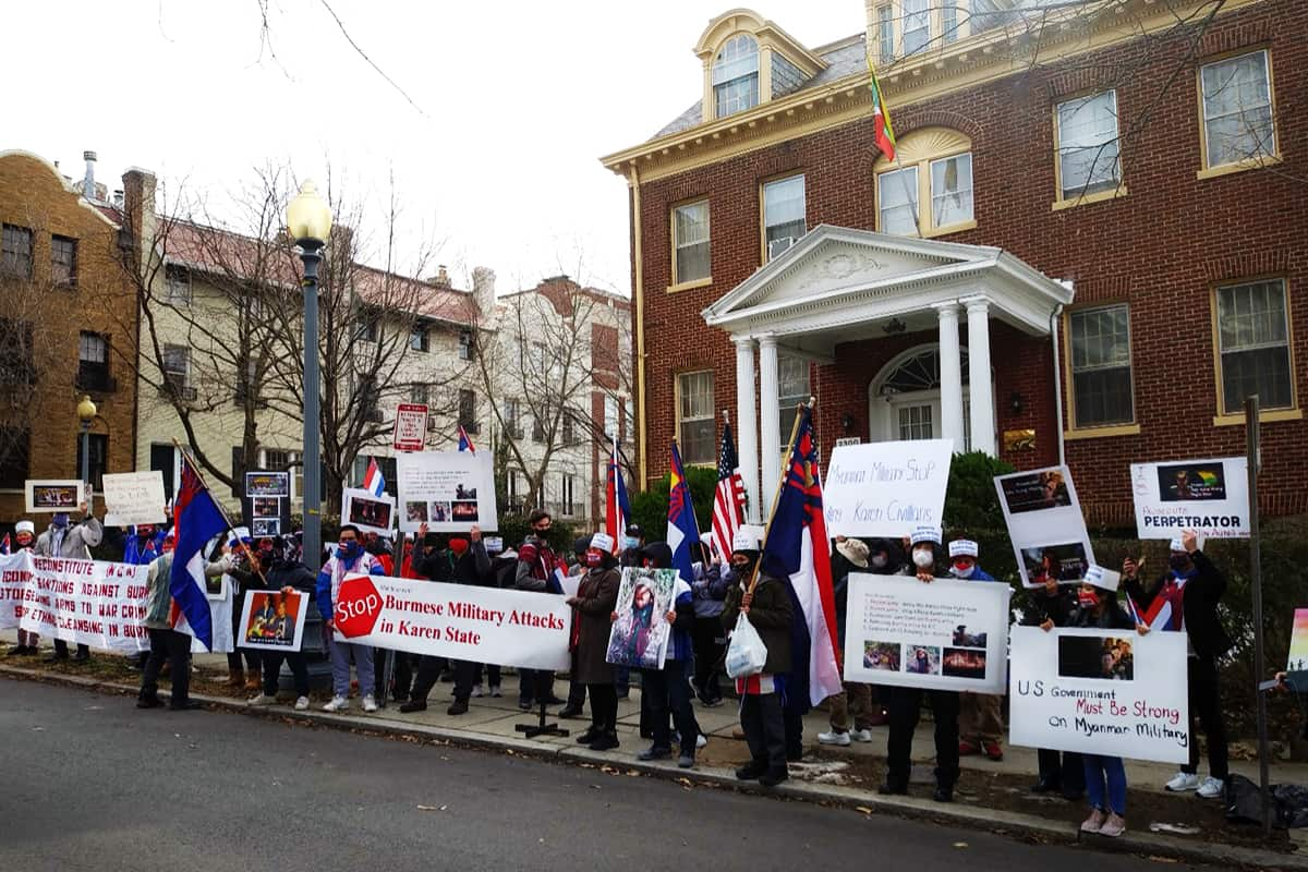 Over 60 people protested at Myanmar's Military Attaché building. Led by the Karen Organization of America, refugees – many now U.S. citizens – traveled from as far as Nebraska to protest against Burma's military attacks on Karen civilians.